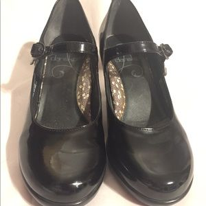 Black Leather Block Heel Mary Jane Dansko size 36